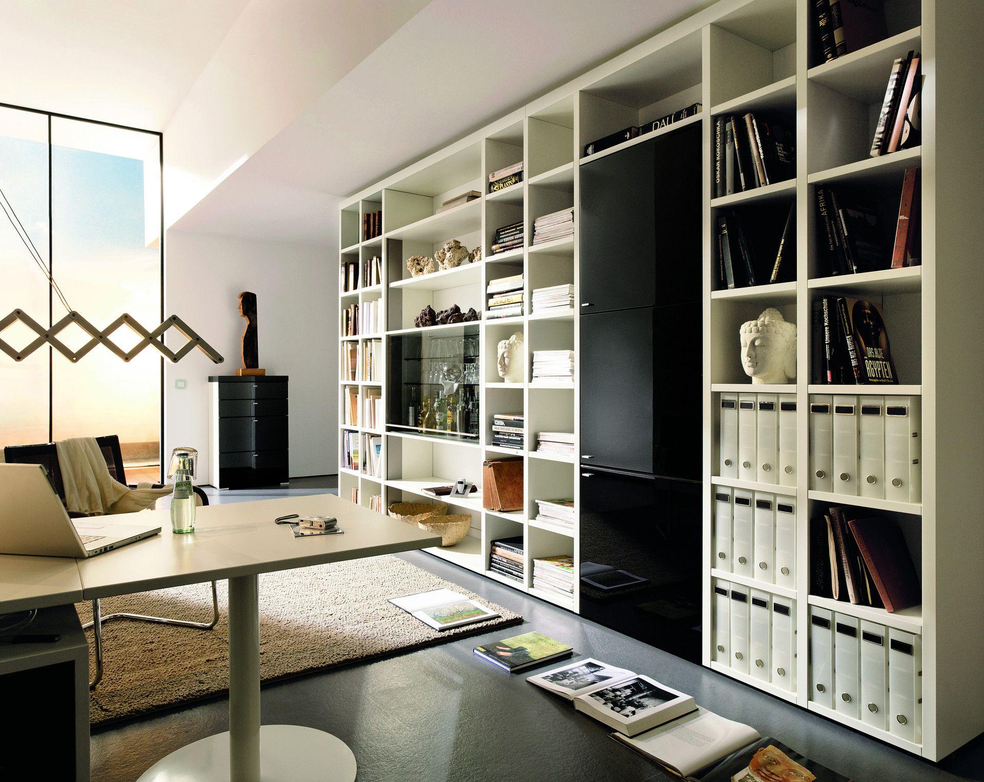 Wohnzimmer zum leben und arbeiten - Hulsta regalwand ...